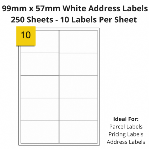 White Sticky Address Labels - 10 Per Sheet